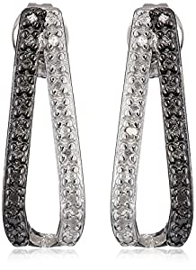 Sterling Silver Black and White Diamond Accent Earrings