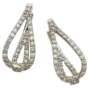 14K White Gold Open Tear Drop Diamond Fashion Earrings