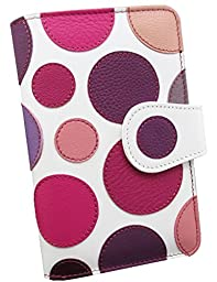 Luxury Women´s Genuine Leather Wallet - Handmade By Craftsmen in Spain - Limited Edition - Fantasy polka dot purple tones