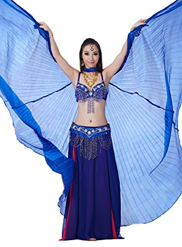 AveryDance Women's Transparent Belly Dance Silk Isis Wings with Wooden Sticks