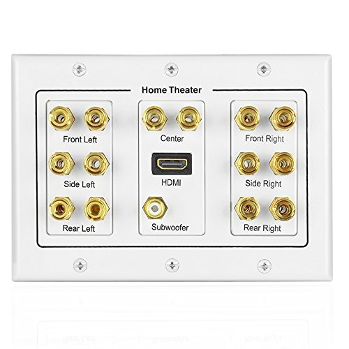 TNP Home Theater Speaker Wall Plate Outlet - 7.1 Surround Sound Audio Distribution Panel, Gold Plated Copper Banana Plug Binding Post Coupler, RCA LFE Jack for Subwoofer, HDMI Port UHD 4K HD (3-Gang) (Home Theater Panel compare prices)