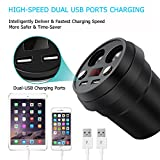 APPHOME USB Car Charger (5V / 3.1A, 2 Ports) Cup Holder with 2-Socket Cigarette Lighter Power Adapter Universal for iPhone Apple Series, Galaxy S6 / Edge /Note and More