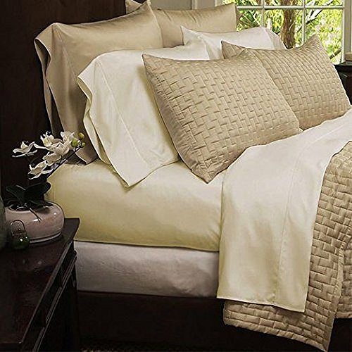 Natural Luxury Bamboo Bed Sheets - HIGHEST QUALITY Ultra Soft 4 Piece Eco-Friendly Bamboo Bed Sheets - Wrinkle Free & Hypoallergenic - Queen - Cream