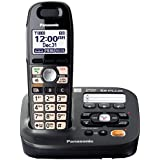 Panasonic KX-TG6591T  DECT 6.0 Amplified Sound Cordless Phone with Answering System, Metallic Black, 1 Handset