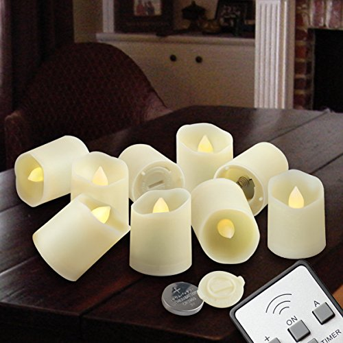Flameless Candles LED Votive Unscented Tealight | Remote Control Timer Tea Lights | Include Battery Operated 200+ Hours | Flickering Amber Yellow Flame 3 Modes | Decoration Wedding Holiday 9 Candles