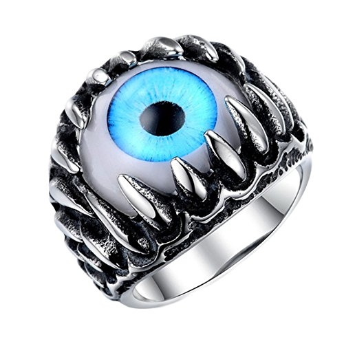 ChongXiao Men's Jewelry Stainless Steel Dragon Claw Evil Eye Ring Size 8-10 (10) (Dragon Eye Ring compare prices)