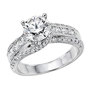 GIA Certified 14k white-gold Round Cut Diamond Engagement Ring (2.02 cttw, J Color, SI1 Clarity)