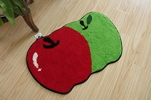 YOYOMALL Two Apples Area Rug Green Red Doormat Cartoon Children Crawling Mat Living Room Bed room Carpet