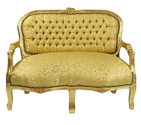 Casa Padrino Barock Kinder Sitzbank Leopard / Gold Antik Stil Kinder Sofa
