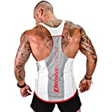 Decisive Fitness Designer Gym Stringer Vest, Gym Vest, Racer Back ( White-Red)