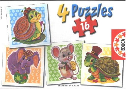 Sweet Animals 4 X 16 Pieces Puzzle Educa 12773