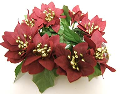 Christmas Candle Ring Decorative Poinsettia Burgundy Floral Table Centre Piece by Sincere UK