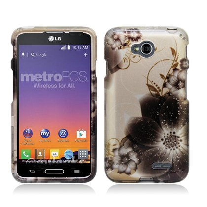 Cell Accessories For Less (Tm) For Lg Optimus L70/Optimus Exceed 2 W7/ Ls620 Realm Image, Brown Floral (2D) + Bundle (Stylus & Micro Cleaning Cloth) - By Thetargetbuys