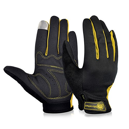 Vbiger New Edition Outdoor Full-finger Gloves for Bike Riding, Breathable Gloves to Release Sweat (Yellow, M)