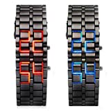 Abco Tech Lava Style Iron Samurai Black Bracelet LED Japanese Inspired Watch RED / BLUE **2 PACK** by Abco Tech