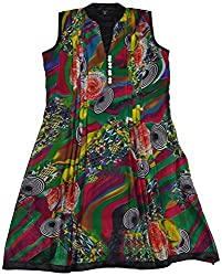 Apsara Women's Georgette Regular Fit Kurta (Multi-colored, L)