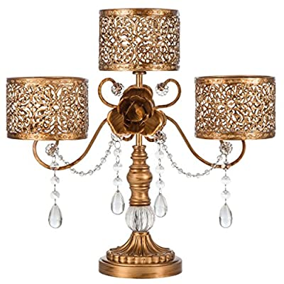 """'Victoria Collection' 3 Pillar Candle Holder with Crystal Dangles, L15.75"""" X H14.5"""""""