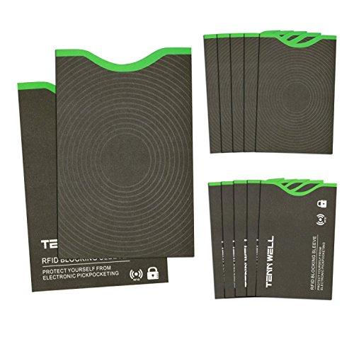 Tenn Well RFIDスリーブ, スキミング防止カードケース 10枚カ...