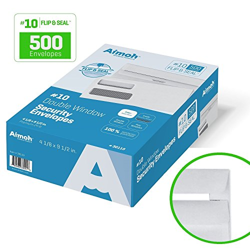 #10 FLIP & SEAL Double Window Security Business Mailing Envelopes for Invoices, Statements & Legal Documents, Self-Sealing Adhesive Seal, Security Tinted, Size 4-1/8 x 9-1/2 - 24 LB 500 Count (30110) (Envelope Self Seal 500 compare prices)