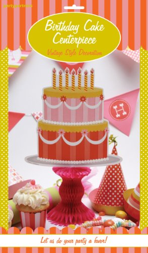 Party Partners Design Retro Sweet Soiree Themed Honey-Comb Pedestal Centerpiece, Pink/Orange
