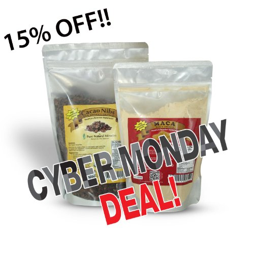 CYBER MONDAY DEAL! SUPER SPECIAL COMBO - Maca Powder and Cacao Nibs - Peruvian Raw Organic Vegan - Premium Maca Root Powder - Criollo Cocoa Nibs from Beans 16 oz/1 lb - Maca Benefits: Energy, Sexual Stamina, Libido, Fertility, Hormonal Balance - Cacao: Highest Antioxidant Superfood. Heart Health.