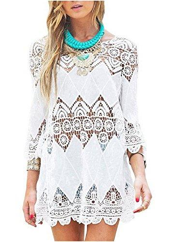 Women's Fashion Swimwear Crochet Tunic Cover Up / Beach Dress (Swim Cover Ups Women compare prices)