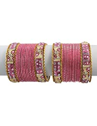 Indian Bollywood Design Set Of 36 Designer Onion Pink Bangle Kada Set Wedding Jewelry ...