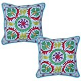 Home Decor Designer Embroidery Cotton Pillow Cushion Cover 17 Inches 2 Pcs - B00JVQWFDY