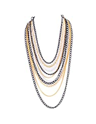 Monisha Daga Chained2u Gold Silver Black Necklace NE88-MT For Women