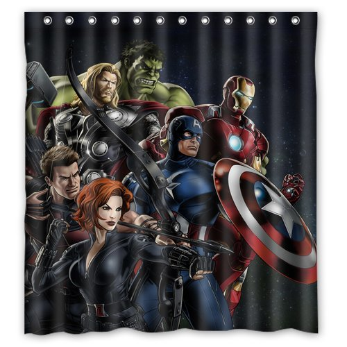 Custom Unique Design Anime Superhero The Avengers Waterproof Fabric Shower Curtain