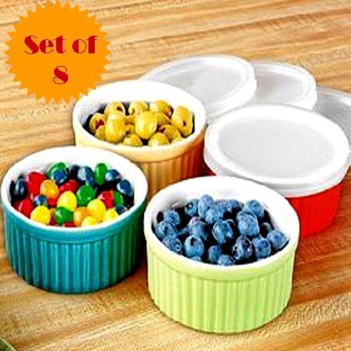 16PC.MICROWAVEABLE MULTI-COLORED RAMEKINS SET (4 ASSORTED COLORED 7 OZ
