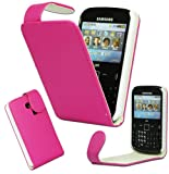 Magic Global Gadgets - New Stylish Pink Magnetic Flip PU Leather Case Cover Pouch For Samsung Chat Ch@t S3350 With Screen Guard