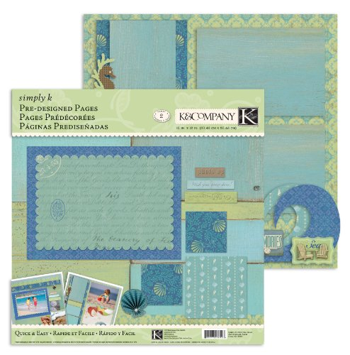 KandCompany Simply K Sea Glass 12-Inch by 12-Inch Pre-Designed Pages
