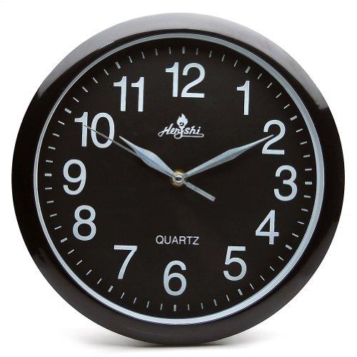 Sinceda Modern Non Ticking Silent Quartz Analog Digital Wall Clock (Black)