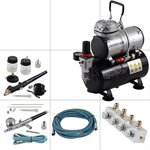 Agora-Tec-Airbrush-Komplett-Set-PROFI-XIII1-inkl-Kompressor-mit-4-bar-20lmin-und-3-Liter-Tank-2-Airbrushpistolen-mit-02-03-05-08mm-NadelnDsen-regelbaren-4-fach-Luftdruckverteiler-2-Schluche-Adapter