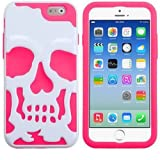 myLife Fluorescent Pink and White {Metallic Skull Layered Design} 2 Layer Hybrid Case for the NEW iPhone 6 (6G... by myLife Brand Products