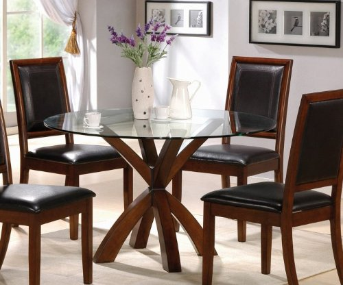 Cheap Round Dining Table with Glass Top Walnut Finish (VF_101320-CB48RD)