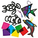 Sealife Stained Glass Effect Hanging Decorations for Children to Make and Display - Pack of 6