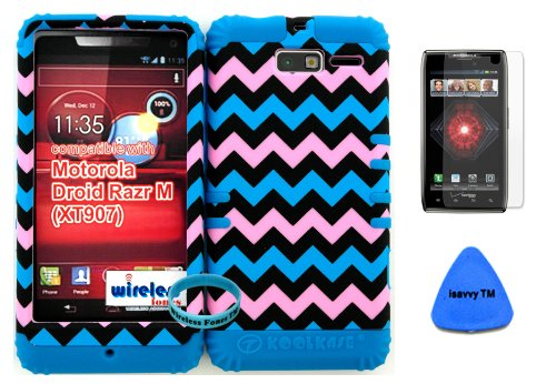 Hybrid Cover Bumper Case For Motorola Droid Razr M (Xt907, 4G Lte, Verizon) Protector Baby Pink, Blue, Black Chevron Pattern Snap On + Blue Silicone (Included Wristband, Screen Protector And Pry Tool By Wirelessfones) front-1000489