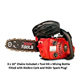 "XXX TOOLS Petrol 26cc 10"" Top Handle Lightweight Chainsaw 3 x CHAINS Walbro Carb"