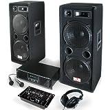 PA Set Block Party Komplett-Anlage 2000 Watt (PA-Verstärker, 2x Auna PA-Boxen, Auna Mixer, Mic + Headphones)