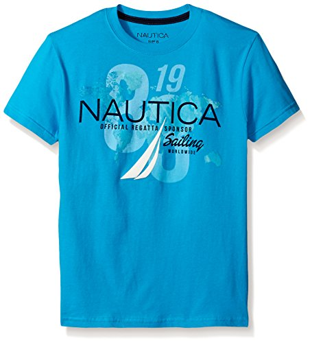Nautica Big Boys' Short Sleeve 83' Graphic Tee, Ocean, Large