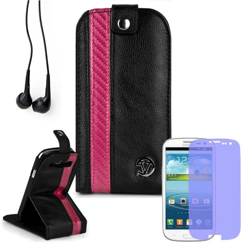 Reinforced Samsung Galaxy S3 I9300 Leather Case Cover With Stand - ( Vangoddy Repetto Pink Carbon Fiber Design ) + Black Earbud Earphones + Custom Samsung Galaxy S3 Screen Protector