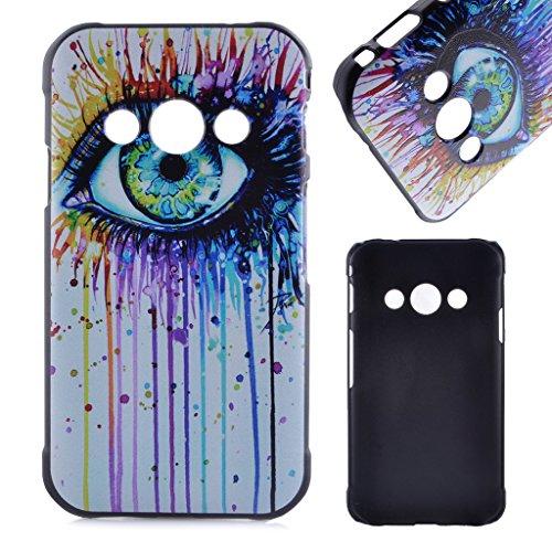 PowerQ M-M [ para Samsung Galaxy Xcover 3 G388F - colorful big eye ] Multi Caja de Plástico Cubierta Dura Plastic Case Cover con hermosa bonita del modelo de dibujo de impresión Impresión