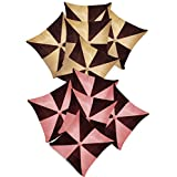 Gig Design Cushion Covers Combo Beige,Brown/Pink,Brown 40 X 40 Cms(10 Pcs Set)