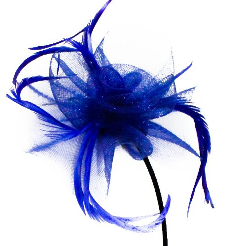Beautiful Womens Looped Net and Feather with Centre Detail Fascinator on a Narrow Black Alice band in Blue