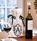 Monogrammed Wine Bag and 3-D Laser-Etched Glass Wine Stopper Set in Letter P