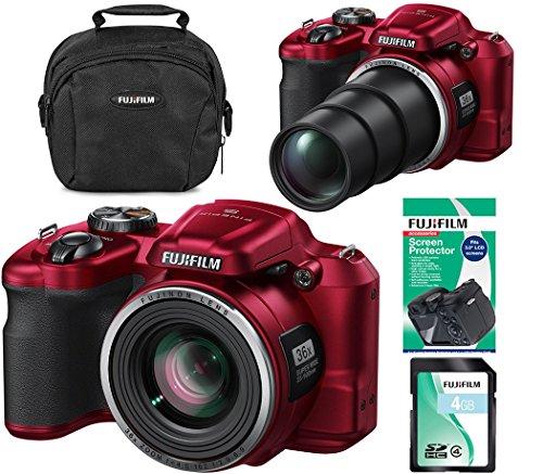 Fujifilm FinePix S8650 16MP Digital Bridge Fuji Camera Bundle - 36x Zoom - Red