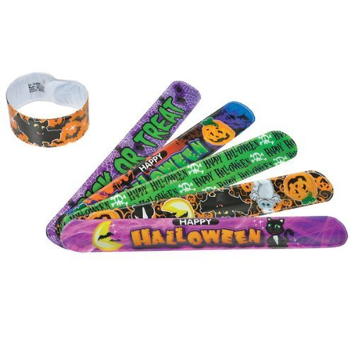 Dozen Assorted Halloween Design Slap Bracelets - 9""