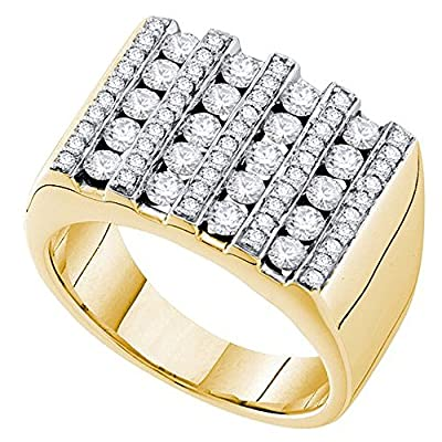 1.50 Carat (ctw) 14K Yellow Gold Round White Diamond Mens Fashion Ring Wedding Band 1 1/2 CT